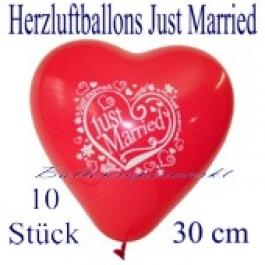 Herzluftballons Just Married, 30 cm, 10 Stück