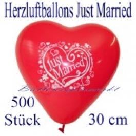 Herzluftballons Just Married, 30 cm, 500 Stück