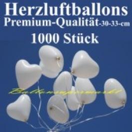 Herzluftballons Weiß 1000 Stück / Heliumqualität / Premium