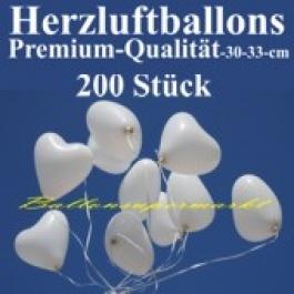 Herzluftballons Weiß 200 Stück / Heliumqualität / Premium
