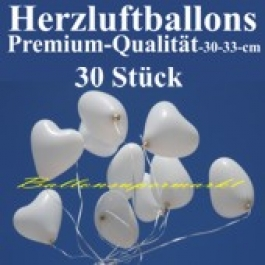 Herzluftballons Weiß 30 Stück / Heliumqualität / Premium