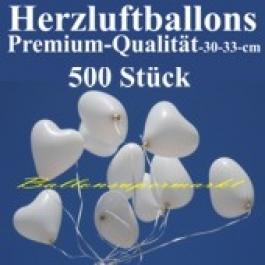Herzluftballons Weiß 500 Stück / Heliumqualität / Premium