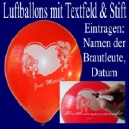 """Luftballons """"Just Married"""" mit Stift  100 Stück"""