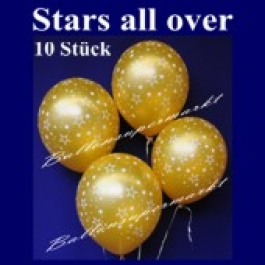 "Luftballons ""Stars All Over"" Gold Silvester 10 Stück"