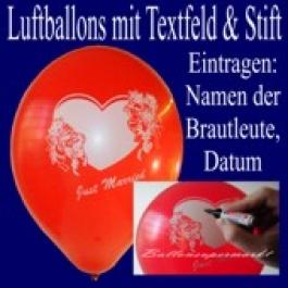 """Luftballons """"Just Married"""" mit Stift  25 Stück"""
