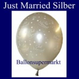 """Luftballons Hochzeit, Latex, 10 Stück """"Just Married"""", silber"""