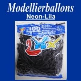 Modellierballons, Neon-Lila, 100 Stück