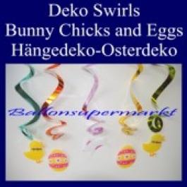 Osterdeko-Swirls, Osterhase, Ostereier, Osterhühnchen