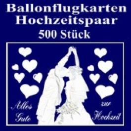 Ballonflugkarten Hochzeit, Hochzeitspaar, Glückwünsche, 500 Karten