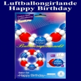Girlande aus Luftballons, Geburtstag, Happy Birthday, Deko-Set