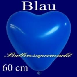 Riesen-Herzluftballons Blau 10 Stück, 60 cm Ø, Heliumqualität