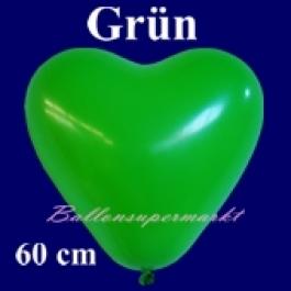 Riesen-Herzluftballons Grün 10 Stück, 60 cm Ø, Heliumqualität