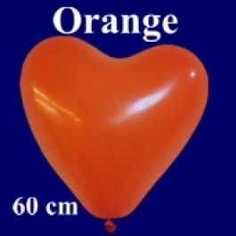 Riesen-Herzluftballons Orange 10 Stück, 60 cm Ø, Heliumqualität