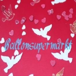 Tischkonfetti Hochzeit, Hochzeitstauben und Herzen