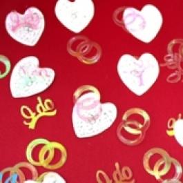 Konfetti Hochzeit, Herzen und Ringe, Streudekoration, Tischdekoration