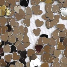 Konfetti, Streudekoration, Silberne Herzen, Tischdeko, Tischkonfetti