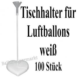 Tischhalter für Luftballons, 100 Stück, weiß