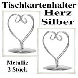 Tischkartenhalter, Silber, Metall, Herzen
