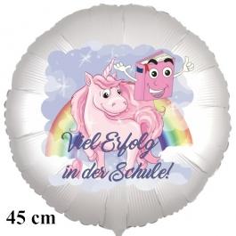 """""""Viel Erfolg in der Schule!"""" Einhorn. Runder Luftballon, satinweiß, 45 cm"""