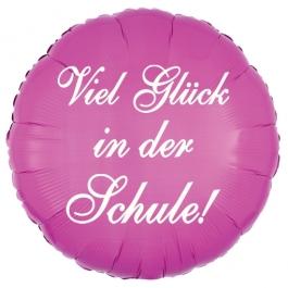 Viel Glück in der Schule! Luftballon in Pink aus Folie, 45 cm, mit Helium zum Schulanfang