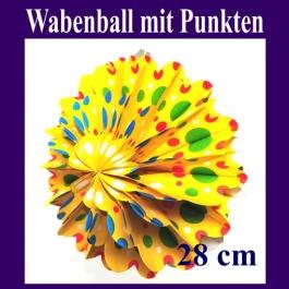 Gelber Wabenball mit Punkten, Festdekoration, Partydekoration, Dekoration Karneval, Fasching, Geburtstag, Party, Kindergeburtstag