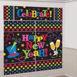 Wanddekoration Happy New Year, Deko Silvester, Neujahr