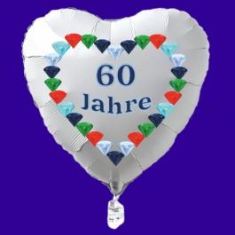Weißer Herzluftballon aus Folie: 60 Jahre, Diamantene Hochzeit