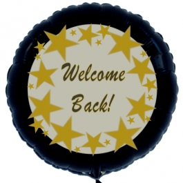 Welcome Back Stars, Luftballon aus Folie, 45 cm, Rundballon, schwarz