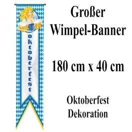 Großer Wimpel-Banner 180 cm x 40 cm, Oktoberfest - Bayrische Wochen Dekoration, Bierkrüge