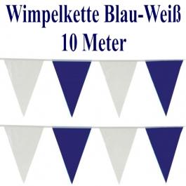 Wimpelkette, Wimpelgirlande Blau-Weiß, 10 Meter, PVC
