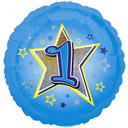 Luftballon aus Folie zum 1. Geburtstag, blauer Rundballon, Junge, Zahl 1, inklusive Ballongas