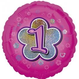 Luftballon aus Folie zum 1. Geburtstag, rosa Rundballon, Mädchen, Zahl 1, inklusive Ballongas