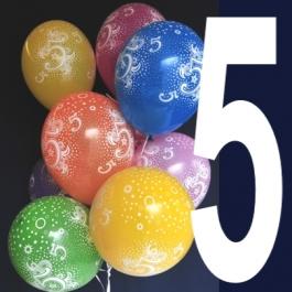 Luftballons Zahl 5, Zahlenballons zum 5. Geburtstag