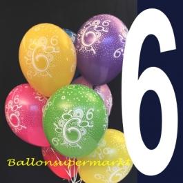 Luftballons mit der Zahl 6, Latexballons Zahlen, Zahl Sechs