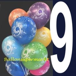 Luftballons mit der Zahl 9, Latexballons mit Zahlen, Neunter Geburtstag