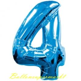 Zahlendekoration Zahl 4, Vier, Großer Luftballon aus Folie, Blau, 1 Meter hoch, Folienballon Dekozahl