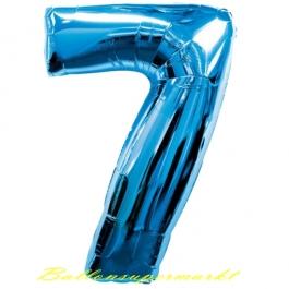Zahlendekoration Zahl 7, Sieben, Großer Luftballon aus Folie, Blau, 1 Meter hoch, Folienballon Dekozahl