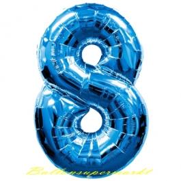 Zahlendekoration Zahl 8, Acht, Großer Luftballon aus Folie, Blau, 1 Meter hoch, Folienballon Dekozahl