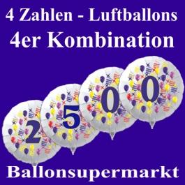 Zahlen-Luftballon aus Folie, 4 Zahlen Kombination, zu Geburtstag und Jubiläum