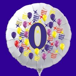 Zahlen-Luftballon aus Folie, Zahl 0, zu Geburtstag und Jubiläum