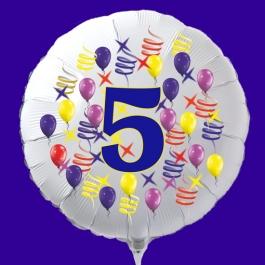 Zahlen-Luftballon aus Folie, Zahl 5, zu Geburtstag und Jubiläum