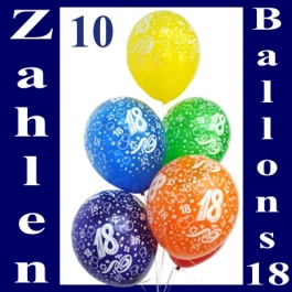 Zahlen-Luftballons, Zahl 18, 10 Stück