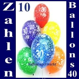 Luftballons mit der Zahl 30 zum 30. Geburtstag, 10 Stück