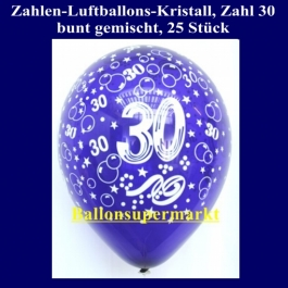 Zahlen-Luftballons, Zahl 30, 25 Stück