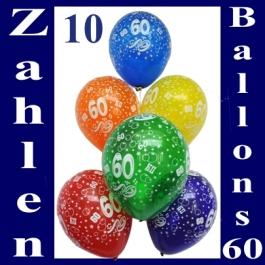Luftballons mit der Zahl 60 zum 60. Geburtstag, 10 Stück
