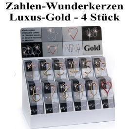 Zahlen-Wunderkerzen Gold, 4 Stück