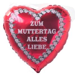 Zum Muttertag Alles Liebe, Ballon aus Folie, roter Herzballon mit Ballongas Helium