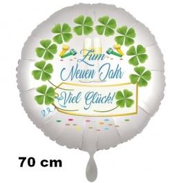 Großer Silvester Luftballon: Zum Neuen Jahr Viel Glück! Satin de Luxe, weiß, 70 cm