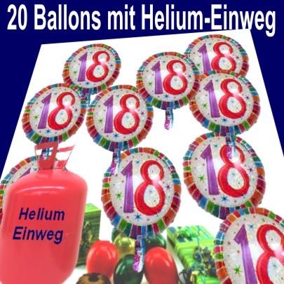 Helium einwegbeh lter mit 20 geburtstag 18 gl ckw nschen geburtstag 18 geburtstagsdeko sets - Deko ideen 18 geburtstag ...