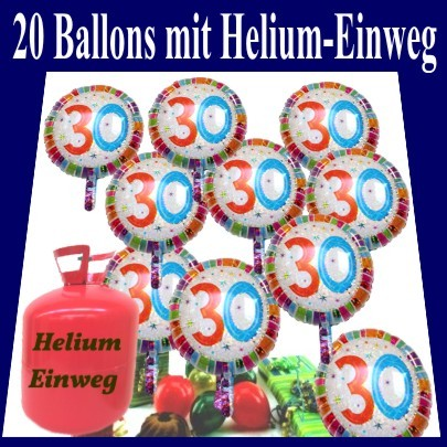 helium einwegbeh lter mit 20 geburtstag 30 gl ckw nschen geburtstag 30 geburtstagsdeko sets. Black Bedroom Furniture Sets. Home Design Ideas